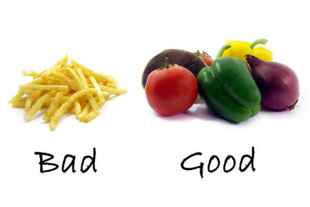 Illustration of a comparison between healthy food and unhealthy food. Stock Illustration - 3878678