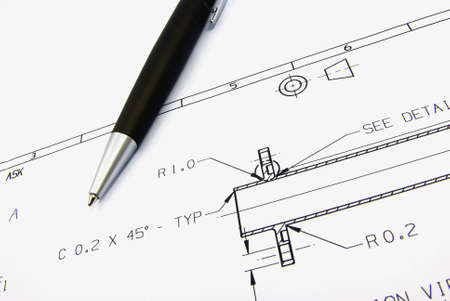 Detail view of a typcial technical drawing on paper. Stock Photo - 3884870