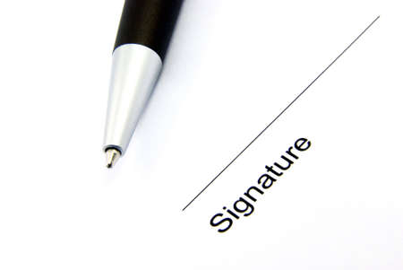 Detail view of the signature box of a contract with a pen. Stock Photo - 3884867