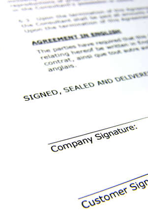 Detail view of the signature box of a contract. Stock Photo - 3884876