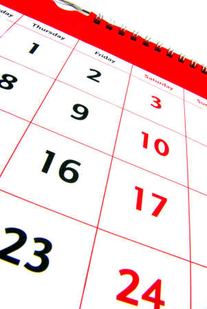 scheduling system: Detail view of a typical white calendar.