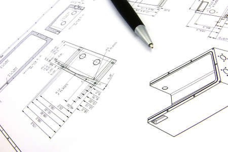 teknik: Detail view of a typcial technical drawing on paper.