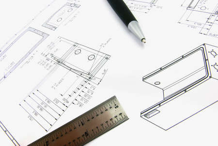 fabricate: Detail view of a technical drawing with pen and ruler.