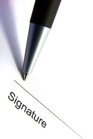 Detail view of the signature box of a contract with a pen. Stock Photo - 3900264