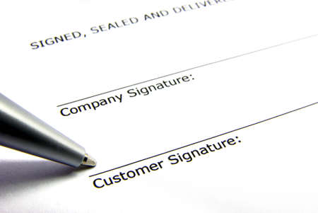 Detail view of the signature box of a contract. Stock Photo - 3900262