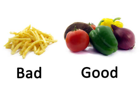 Ilustración de una comparación entre alimentos saludables y no saludables de alimentos. Foto de archivo - 3903472