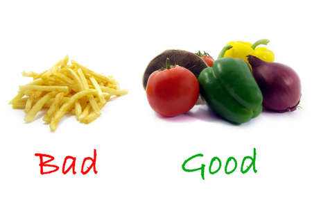 opting: Illustration of a comparison between healthy food and unhealthy food. Stock Photo