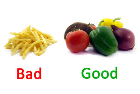 Illustration of a comparison between healthy food and unhealthy food. Stock Illustration - 3912900