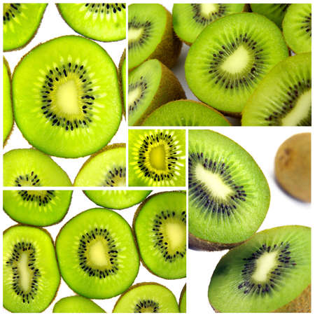 assemblage: Photos of kiwis assembled into one image to make a mosaic. Stock Photo
