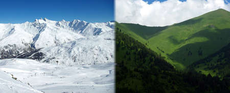 Photo montage showing a mountains landscape in winter and in summer. photo
