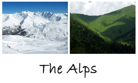 french countryside: Photo montage showing a mountains landscape in winter and in summer.