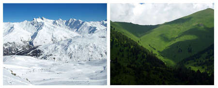 View of a mountain landscape in summer and in winter. photo