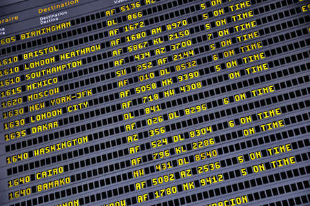 arrival departure board: Detail view of a typical airport information board.