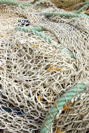 fish net: Detail view of a typical fishing line Stock Photo