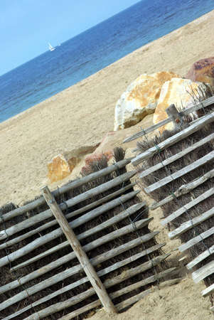 inclined: Beach view and seascape inclined in France. Stock Photo