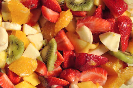 Detail view of a fresh colorful fruit salad. Stock Photo