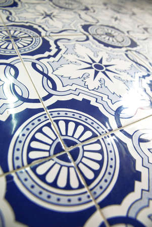 Detail view of a typical azulejos in Portugal. photo