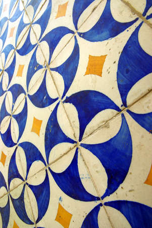 Detail view of typical colorful azulejos in Portugal. photo