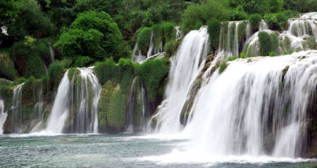 Landscape of a waterfall in Krka national park in Croatia. Stock Photo