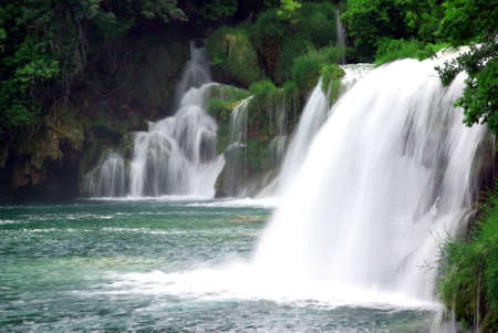 Landscape of a waterfall in Krka national park in Croatia. Stock Photo