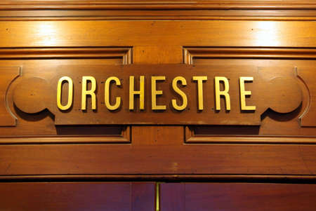 Detail view of a signboard in Paris opera.