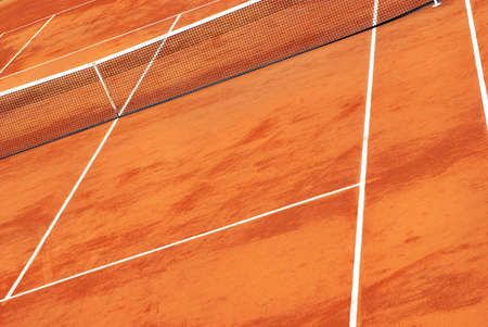 Tennis court in clay with its net