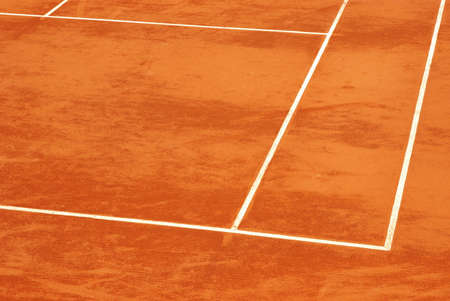 Detail view of the lines of a tennis court in clay Stock Photo