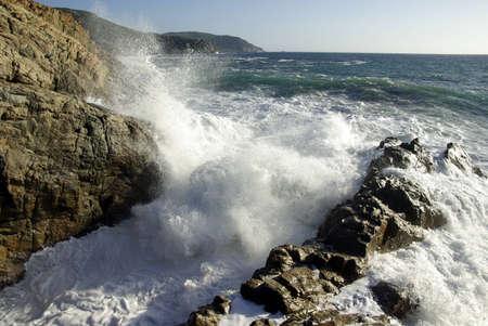 Image of a massive sea wave in Corsica. photo