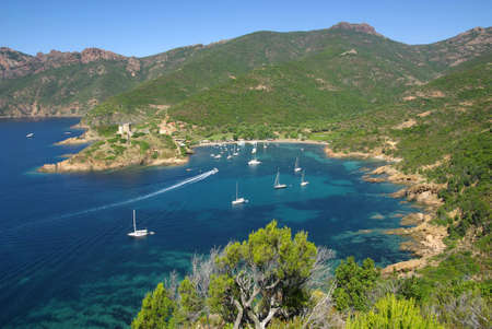 Image of the nice creek of Girolata in Corsica.