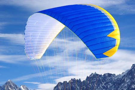 paragliding: Detailed image of a paraglider wing. Stock Photo