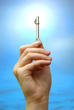 hand key: Illustration of the route to success with a key