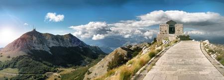 Mausoleum Petar II, National park Lovcen Montenegrin, the beautiful mountains landscape, tourist attraction photo