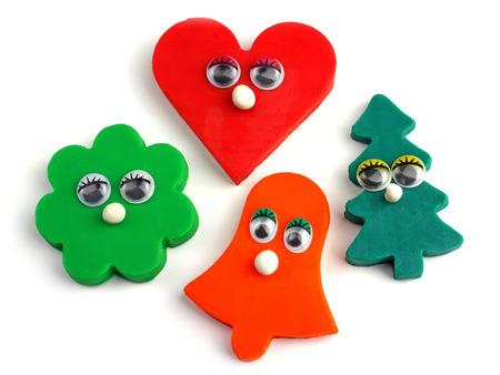 plasticine emotional figures, heart, bell, pine, flower, no  01