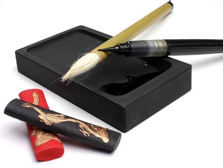 Tradicional pincel chino y tinta para caligrafía Foto de archivo
