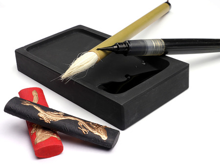 Traditional Chinese brush pen and ink for calligraphy Banco de Imagens