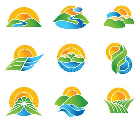 Set of landscape symbols and icons Illusztráció