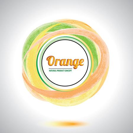 Abstract orange circle element  Orange smudge whirlpool  Vector