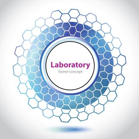 atomic symbol: Abstract dark blue medical laboratory circle element