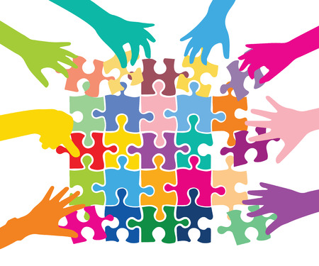 Team spelen met kleurrijke puzzelstukken Stock Illustratie