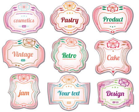 Set of vintage cosmetic labels and stickers Vector