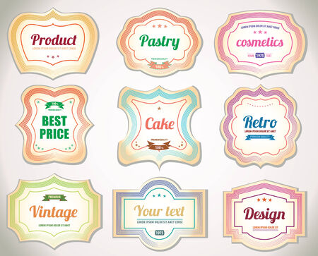baked goods: Set of vintage pastry labels and stickers