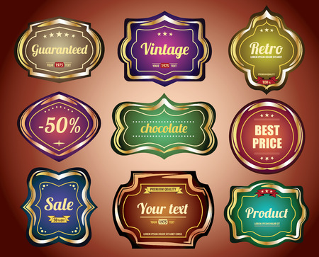 Set of vintage labels and stickers to confectionery Vector