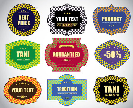 Set of vintage decorative labels and stickers. Vector