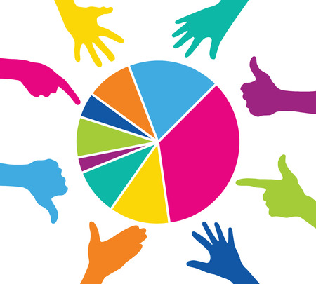 Team play with colorful pieces graph Illustration