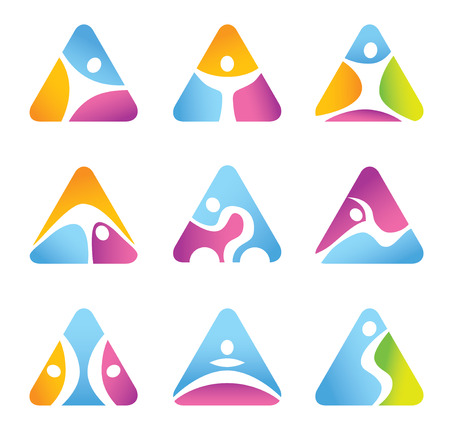 Set of triangular fitness symbols and icons Vector