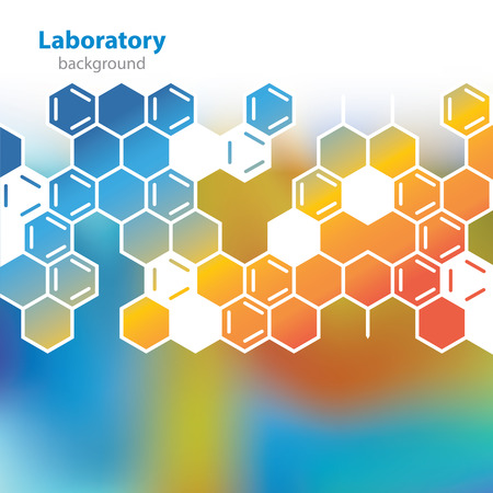 Abstract orange-blue medical laboratory background  Vector