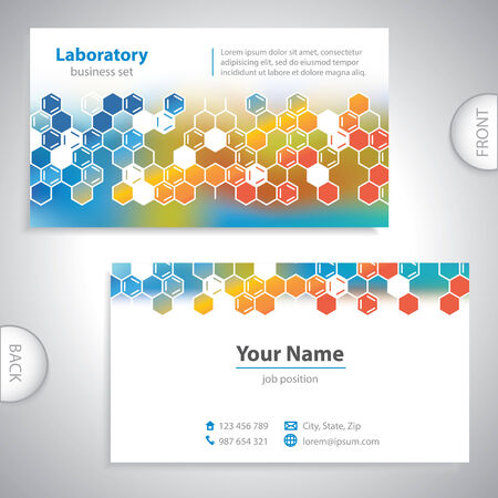 Universal orange-blue medical laboratory business card  Vector