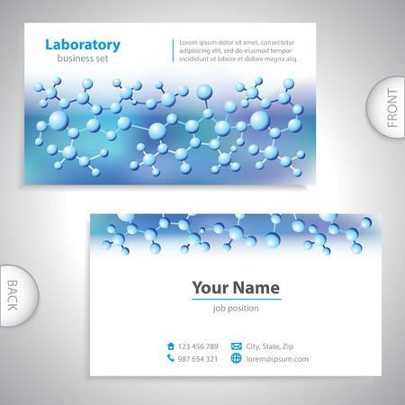 Azul-violeta tarjeta de visita de laboratorio médico universal