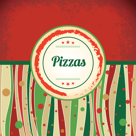 Pizza - retro antique template label Vector