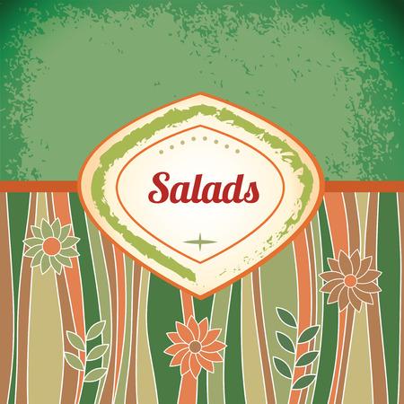 Salad - retro antique template label Vector